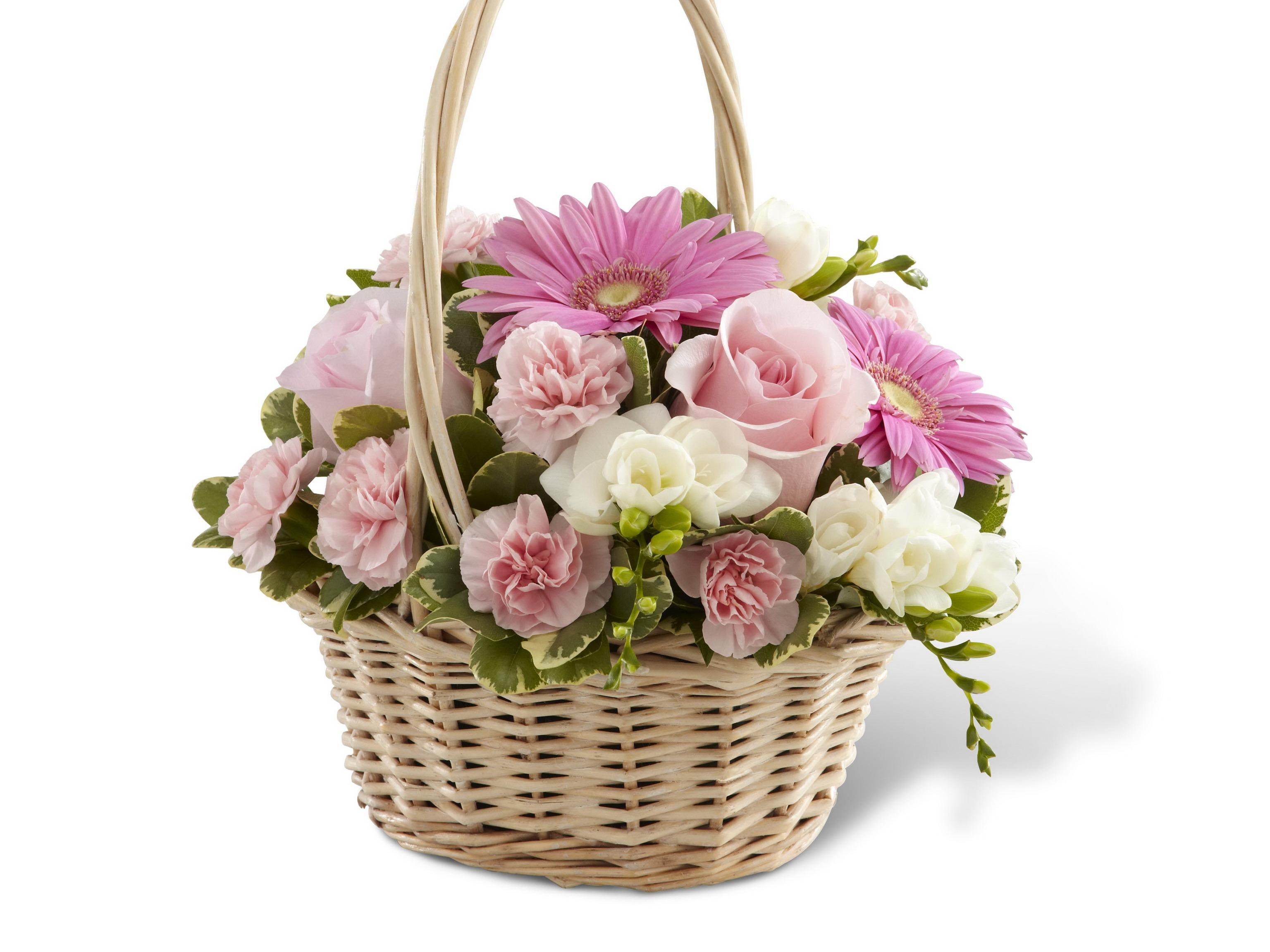 Букеты цветов в корзинках фото