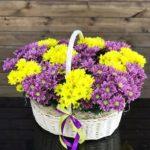 корзина цветов, цветочная корзина, композиция из цветов в корзине, красивая корзина цветов